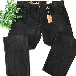 TK Axel Black Slim Straight Stretch Denim Jeans